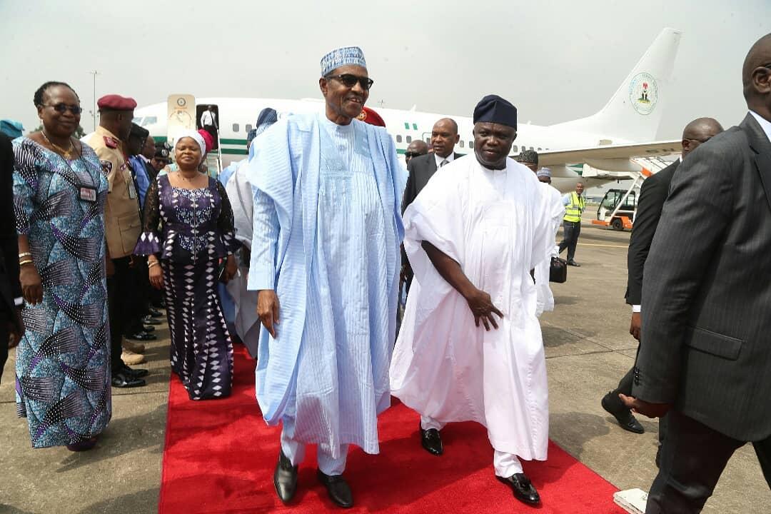 Photo of Tinubu absent as President Buhari arrives Lagos