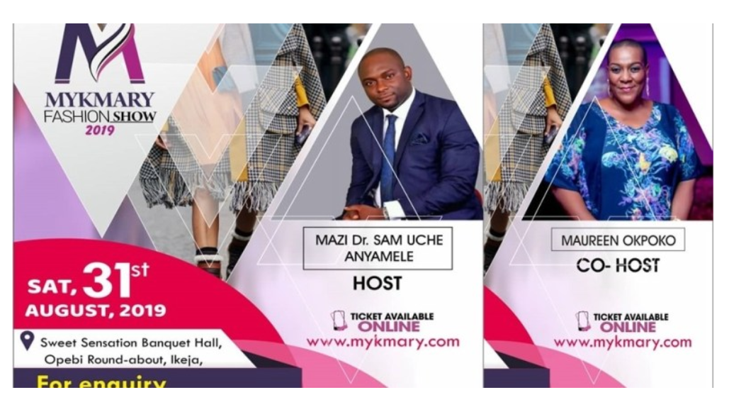 Photo of Nollywood actor Sam Uche-Anyamele and Maureen Okpoko Set to Host Mykmary Fashion Show 2019