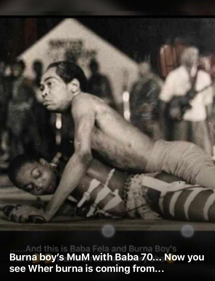 Photo of Fela Kuti rocking Burna Boy's mother on stage surfaces