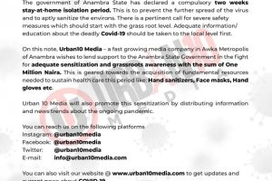 Covid-19: Urban10 Media Lends Their Support To The People