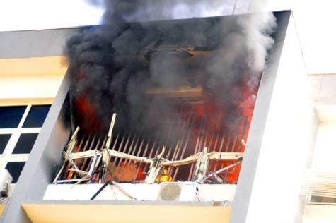 Photo of INEC headquarters in Abuja on fire | VIDEO