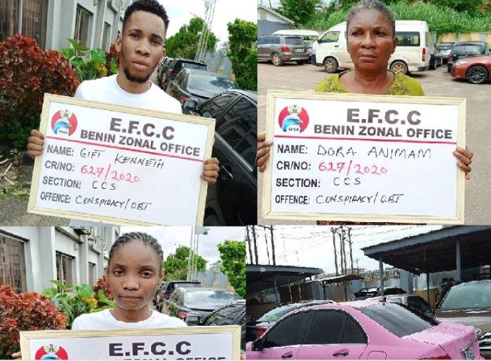 PHOTO: EFCC Arrests Son, Mother, Girlfriend For Internet Fraud