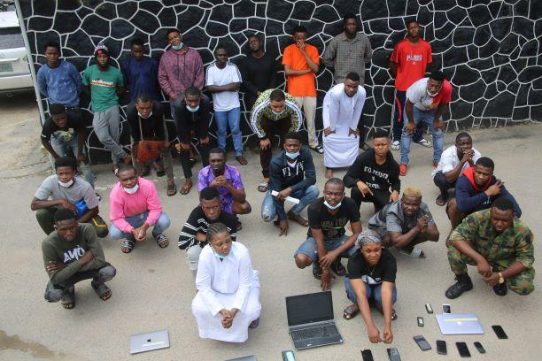 PHOTOS: EFCC Arrests Soldier, 26 Others For Internet Fraud In Lagos