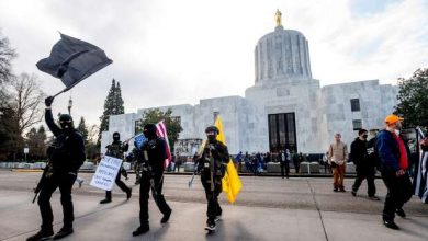 Photo of Heavily fortified statehouses around US see small protests