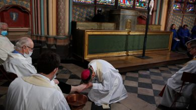 Photo of Holy Thursday service held at fire-ravaged Notre Dame