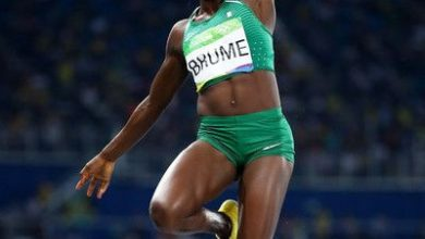 Photo of Ese Brume on verge of gold at Tokyo Olympics
