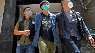 Photo of 4 members of Hong Kong student union held for 'advocating terrorism'