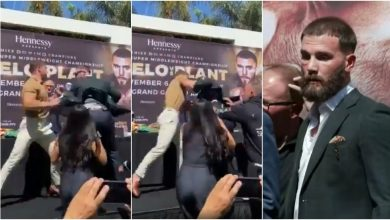 Photo of 'Don't talk about my mom': Canelo shows incredible reflexes as he trades blows with Plant at explosive press conference (VIDEO)