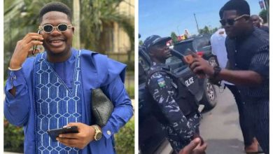 Photo of Mr Macaroni confronts police officer extorting cash from young man